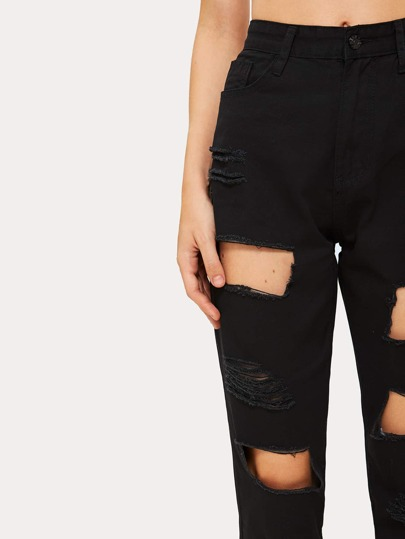 SheIn / Button Waist Cut Out Ripped Jeans