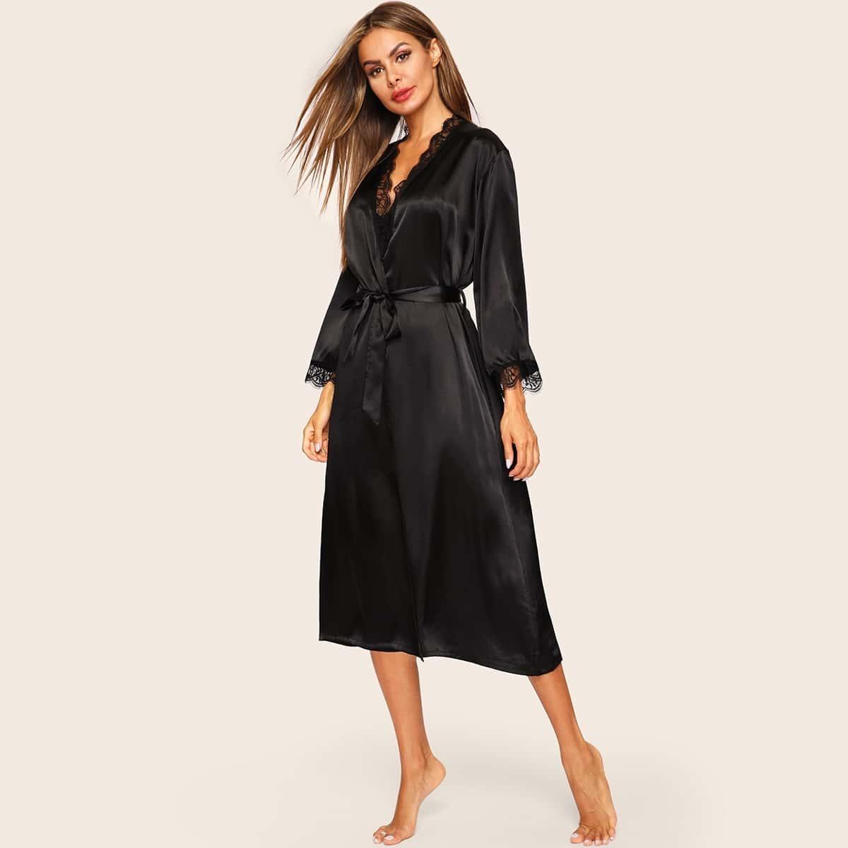 Zwart Sexy Vlak Kimono's Contract kant