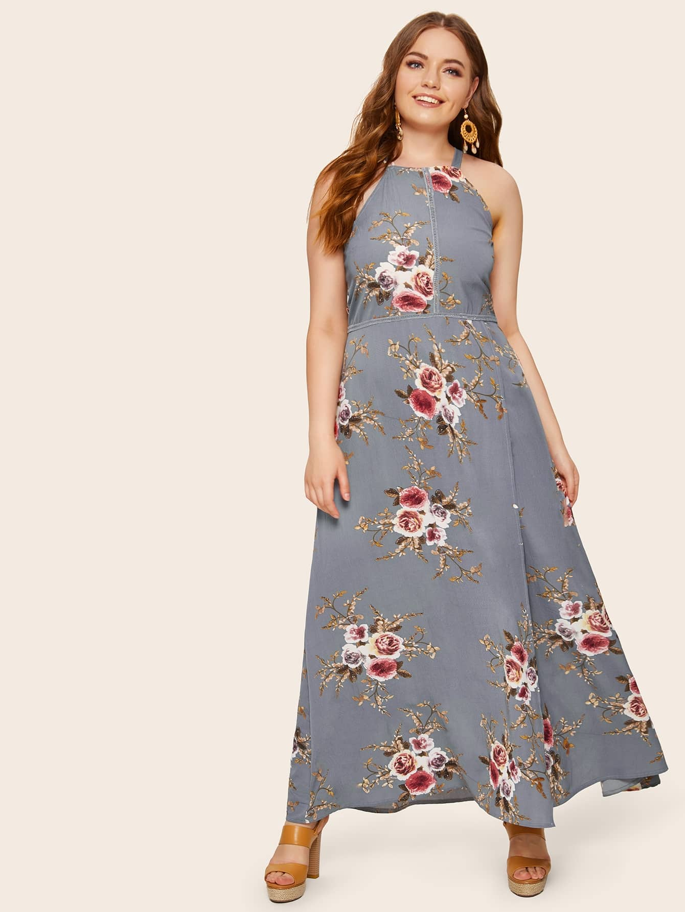 Plus Zip Back Floral Print Maxi Halter Dress
