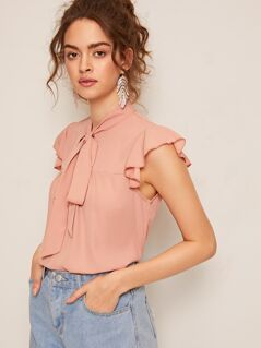 Solid Ruffle Armhole Tie Neck Top