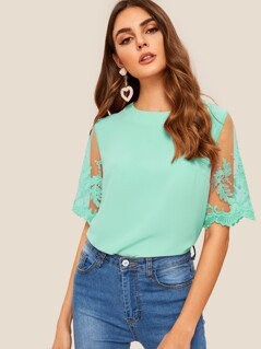 Zip Back Embroidered Mesh Sleeve Top