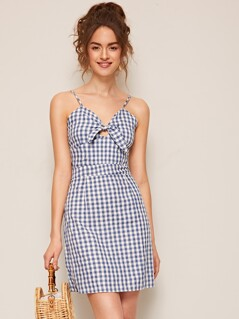 Knotted Front Peekaboo Gingham Slip Dress