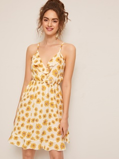 Flower Print Ruffle Trim Sun Dress
