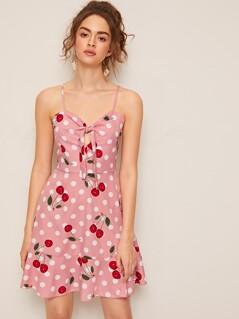 Knot Front Peekaboo Cherry & Polka Dot Print Sundress