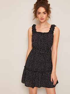 Thick Strap Heart Print Frilled Dress