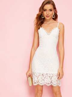 Zip Back Guipure Lace Bustier Slip Dress