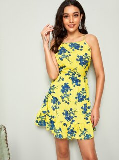 Plants Print Flippy Hem Sundress