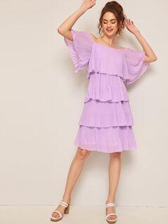 Off Shoulder Pleated Layered Ruffle Hem Dress
