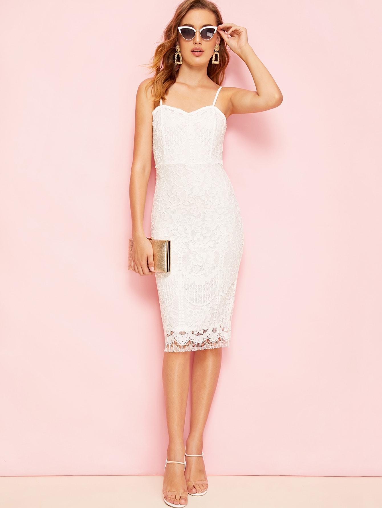 Фото - Облегающее кружевное платье-комбинация с разрезом от SheIn цвет белые