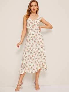 Flower Print Ruffle Trim Wrap Slip Dress