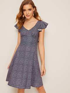 Ditsy Floral Print Ruffle Trim Tie Back Dress