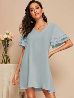 Layered Ruffle Sleeve Solid Dress