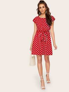 Polka-dot Print Tied Waist Dress