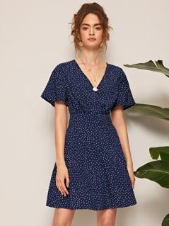 V Neck Polka-dot Print Dress
