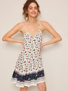 V-neck Colorblock Floral Print Slip Dress