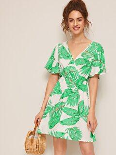 Surplice Wrap Tropical Print Dress