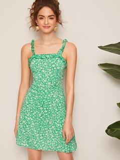 Frilled Strap Daisy Print Dress