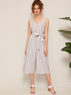 V Neck Sleeveless Striped Belted Jumpsuit