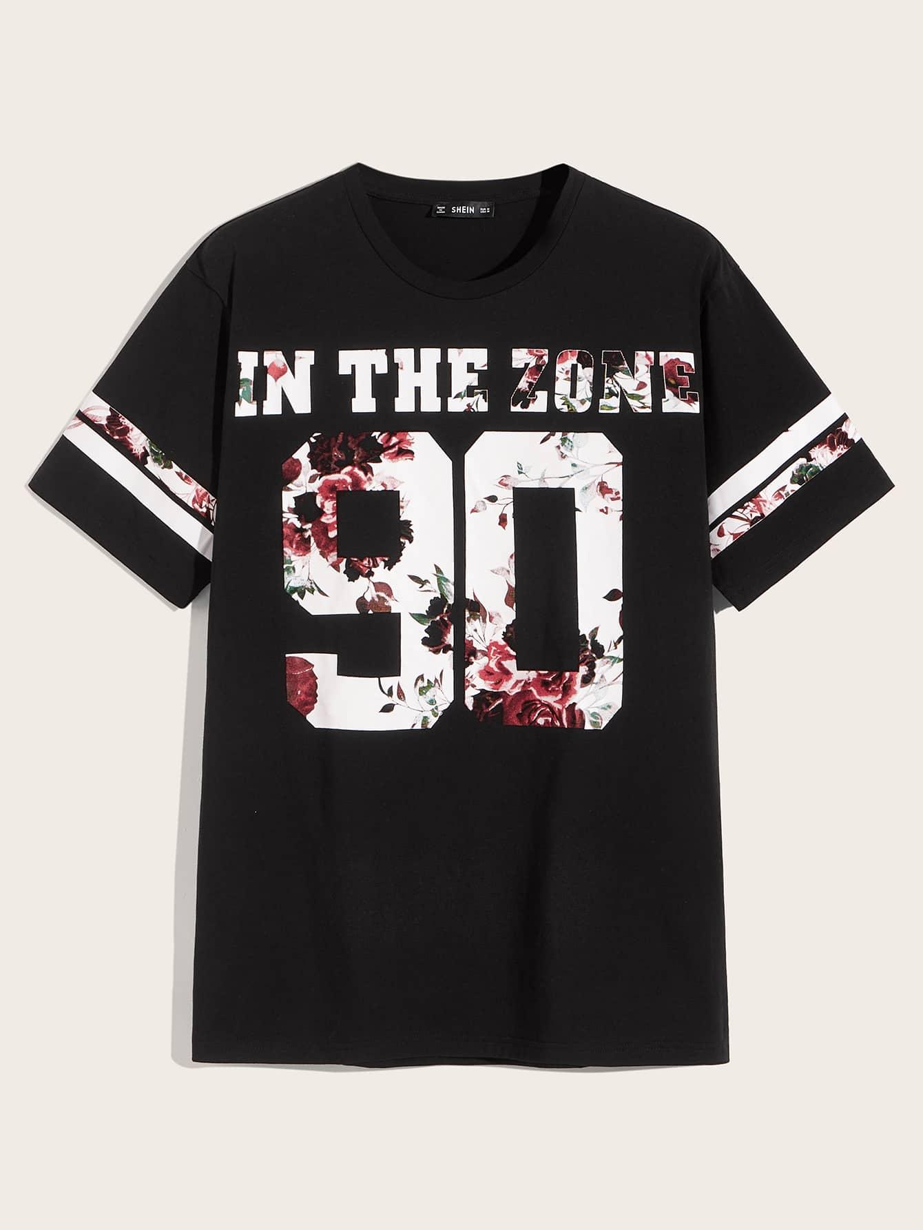 Фото - Мужская футболка с оригинальным принтом от SheIn черного цвета