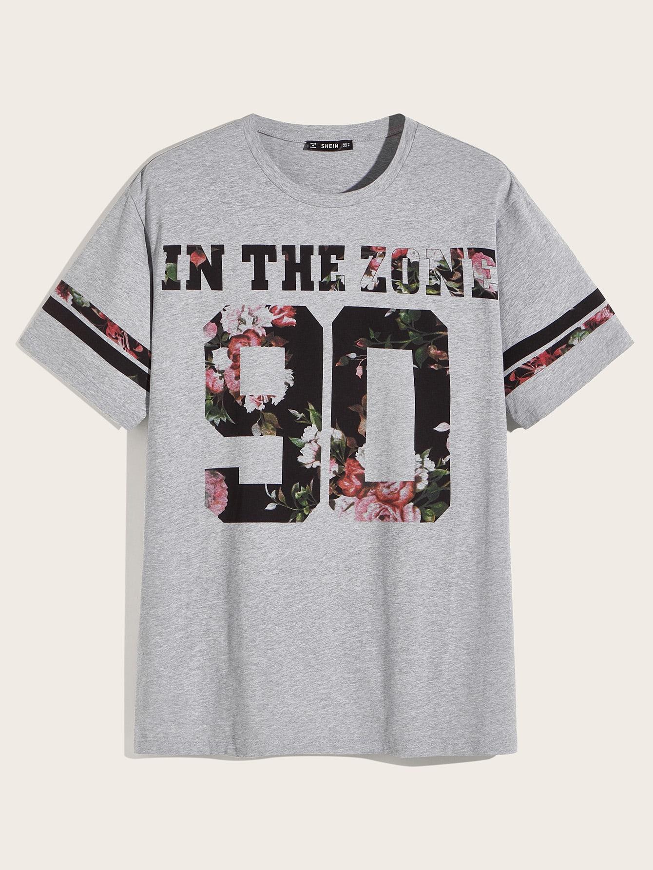 Фото - Мужская футболка с оригинальным принтом от SheIn серого цвета