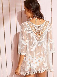 Lace Trim Sheer Embroidered Mesh Kimono