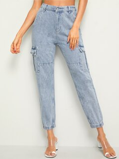 Flap Pocket Bleach Wash Crop Jeans