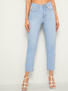 Bleach Wash Crop Jeans