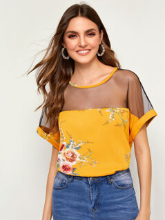 Sheer Mesh Yoke Floral Print Blouse