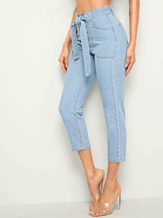 Bleach Wash Button Fly Belted Crop Jeans
