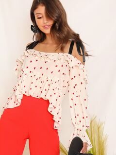 Heart Print Self Shoulder Foldover Front Top