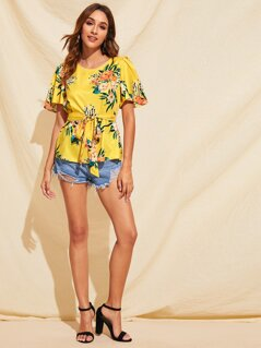 Bell Sleeve Floral Print Belted Top