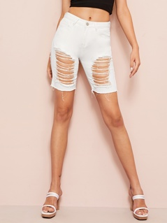 Destroyed Ripped Bermuda Denim Shorts