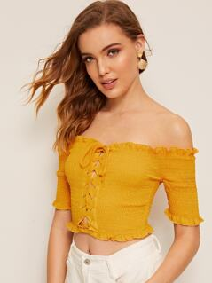 Frill Trim Lace-up Placket Shirred Top