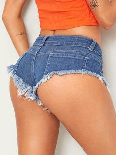 Raw Hem Low Waist Mini Denim Shorts