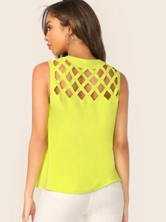 Neon Yellow V-cut Neck Geo Cut Yoke Sleeveless Top