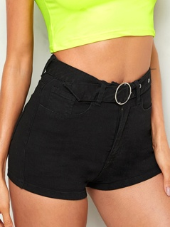 O-ring Belted 5-pocket Denim Shorts