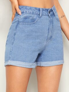 Bleach Wash Rolled Cuff Denim Shorts