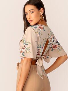 Deep V-neck Flutter Sleeve Floral Print Crop Top