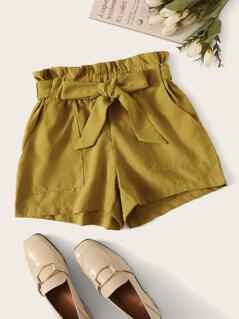 Paperbag Waist Pocket Front Belted Shorts