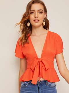 Neon Orange Deep V-neck Tie Front Peplum Top