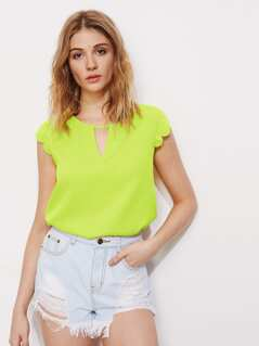 Neon Lime Scallop Trim Peekaboo Top