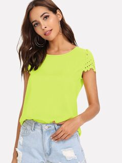 Neon Lime Scallop Edge Laser Cut Top