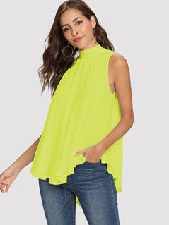 Neon Lime Tie Back Mock-neck Asymmetrical Hem Blouse