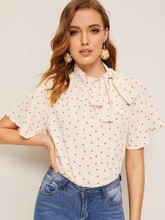Confetti Heart Print Tie Neck Raglan Sleeve Top