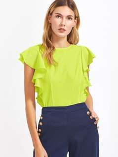 Neon Lime Ruffle Armhole Top