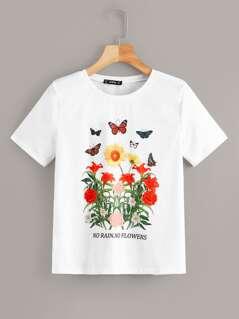 Flower & Butterfly Print Tee