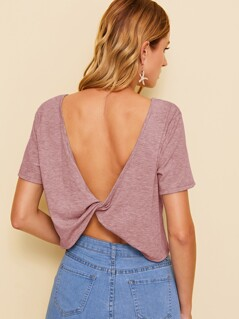 Plunging Back Slub Knit Crop Top
