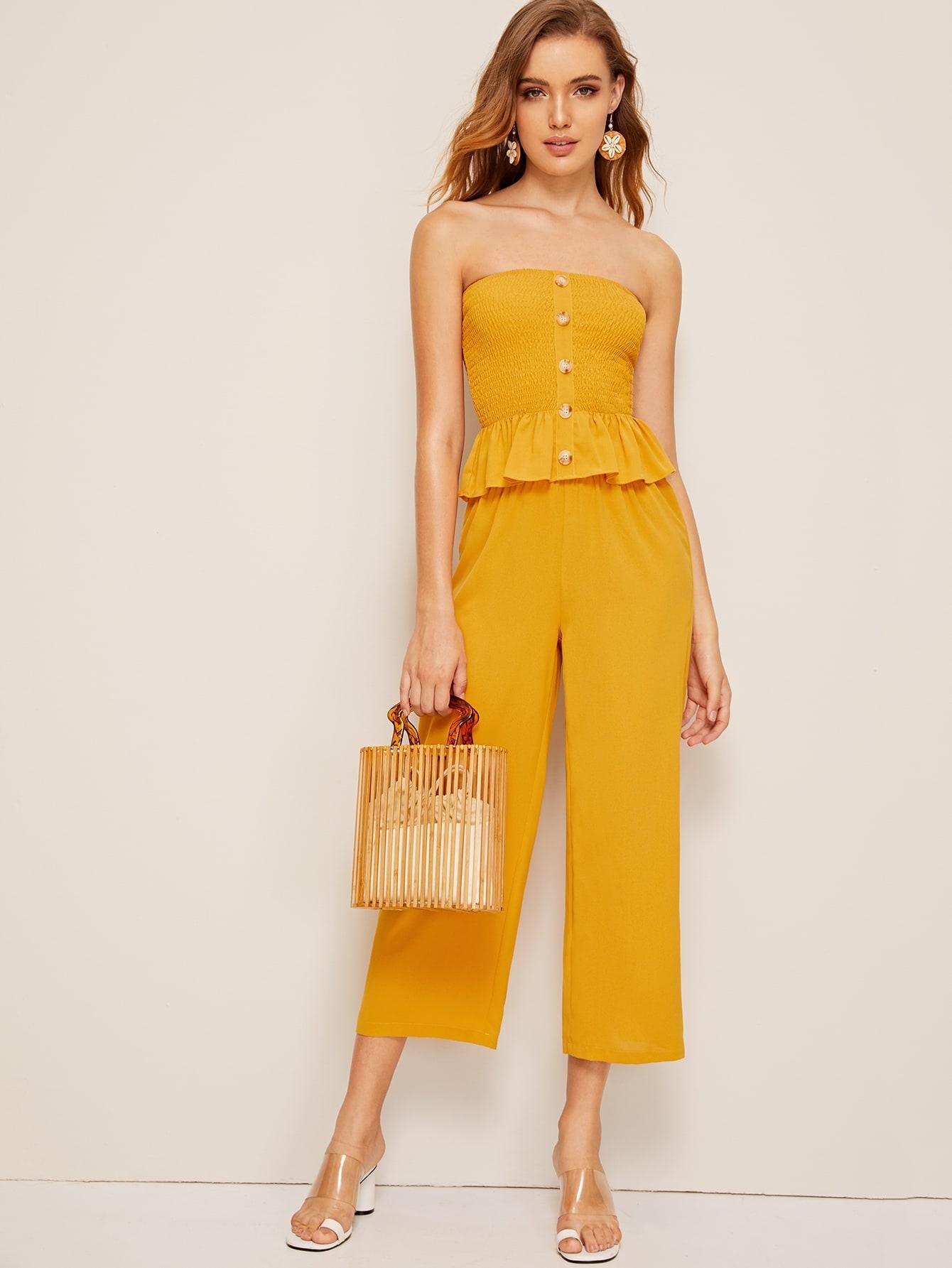 Фото - Топ с пуговицами, складкой и широкие брюки от SheIn желтого цвета