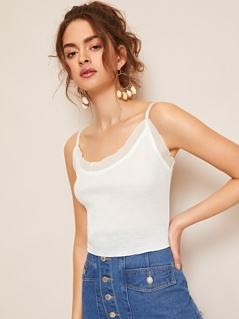 Solid Form Fitting Crop Cami Top