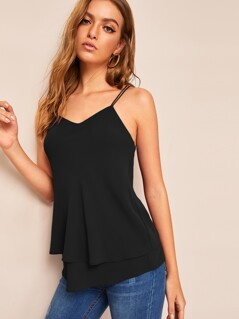 Ring Detail Strappy Layered Hem Top